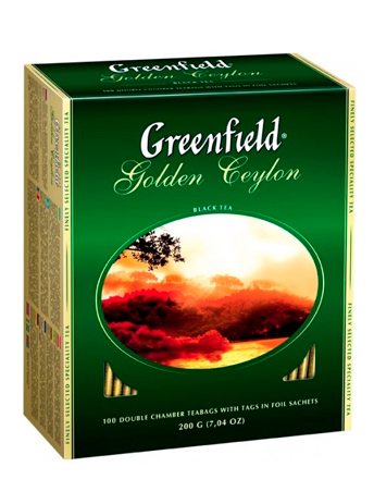 Чёрный чай GREENFIELD GOLDEN CEYLON 100 пакетиков